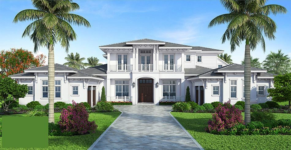 Coastal, Florida, Mediterranean House Plan 52928 with 4 Beds, 6 Baths, 4 Car Garage Picture 1