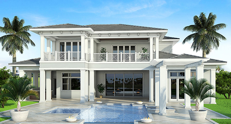 Coastal, Florida, Mediterranean House Plan 52928 with 4 Beds, 6 Baths, 4 Car Garage Picture 16