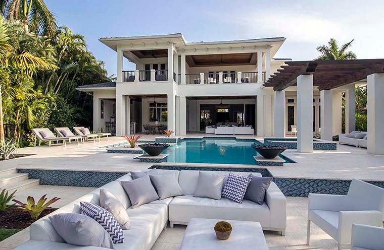 Coastal, Florida, Mediterranean House Plan 52928 with 4 Beds, 6 Baths, 4 Car Garage Rear Elevation