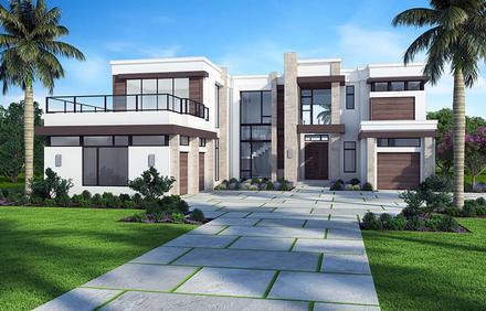 Florida, Mediterranean, Modern House Plan 52929 with 5 Beds, 7 Baths, 3 Car Garage