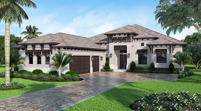 Coastal, Florida, Mediterranean House Plan 52930 with 4 Beds, 6 Baths, 3 Car Garage Elevation