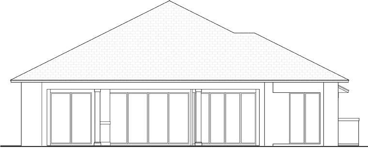 Coastal, Florida, Mediterranean House Plan 52930 with 4 Beds, 6 Baths, 3 Car Garage Rear Elevation