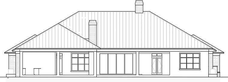 Coastal Florida Southern House Plan 52940 Rear Elevation