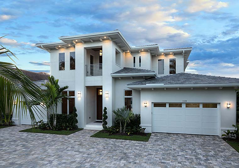 Coastal, Contemporary, Florida Plan with 4532 Sq. Ft., 4 Bedrooms, 5 Bathrooms, 3 Car Garage Elevation