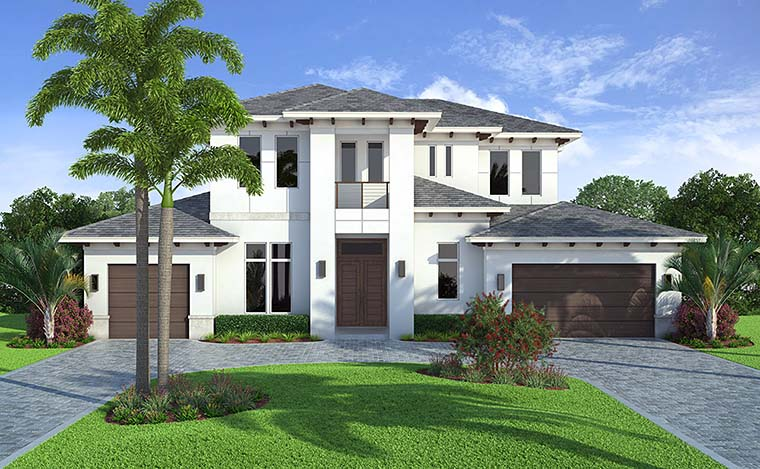 Coastal, Contemporary, Florida Plan with 4532 Sq. Ft., 4 Bedrooms, 5 Bathrooms, 3 Car Garage Picture 2