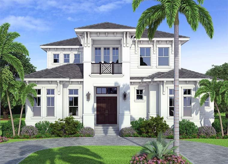 Coastal Contemporary Florida Mediterranean House Plan 52942 Elevation
