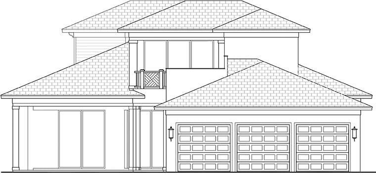 Coastal Contemporary Florida Mediterranean House Plan 52942 Rear Elevation