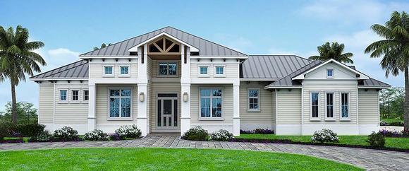 Coastal, Florida House Plan 52946 with 4 Beds, 3 Baths, 3 Car Garage Elevation
