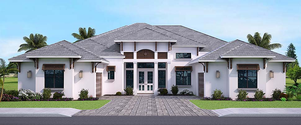 Coastal, Florida, Mediterranean House Plan 52952 with 3 Beds, 4 Baths, 3 Car Garage Elevation
