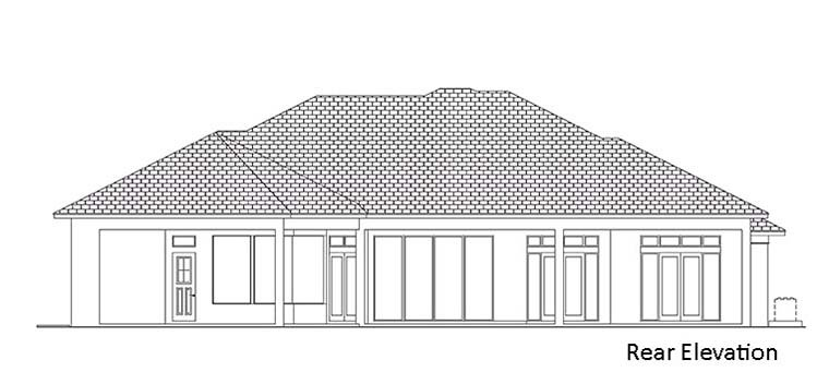 Coastal, Florida, Mediterranean House Plan 52952 with 3 Beds, 4 Baths, 3 Car Garage Rear Elevation