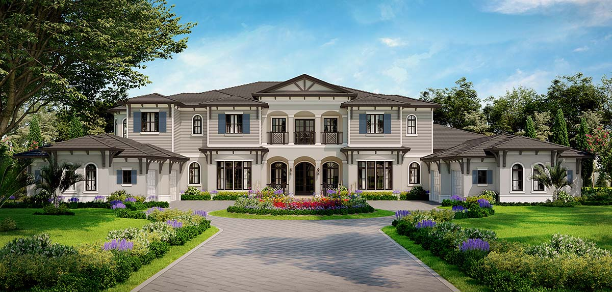 . Contemporary Style House Plan Number 52959 with 5 Bed  8 Bath  4 Car Garage