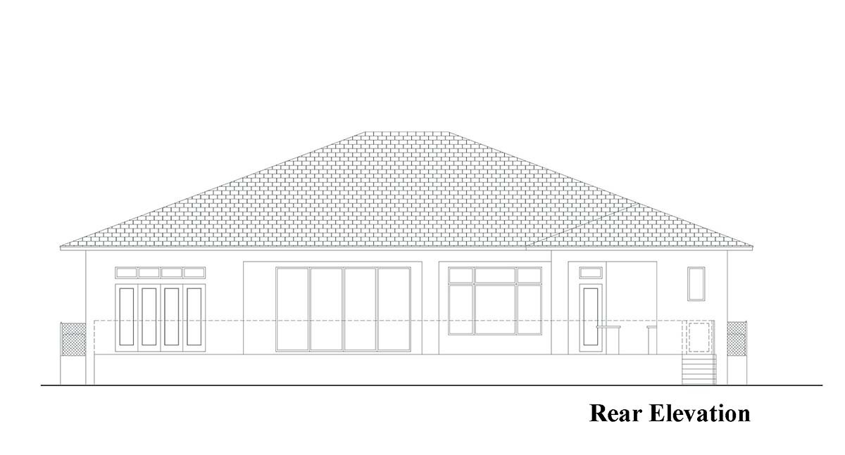 Coastal Contemporary Florida Rear Elevation of Plan 52961