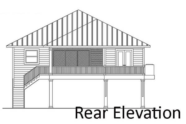 Coastal, Florida, Southern House Plan 52965 with 2 Beds, 2 Baths, 2 Car Garage Rear Elevation