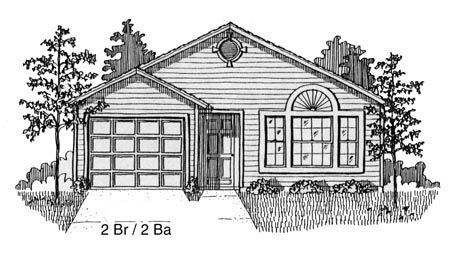 House Plan 53100 with 2 Beds, 2 Baths, 1 Car Garage Elevation
