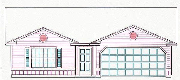 House Plan 53105 with 3 Beds, 2 Baths, 2 Car Garage Elevation