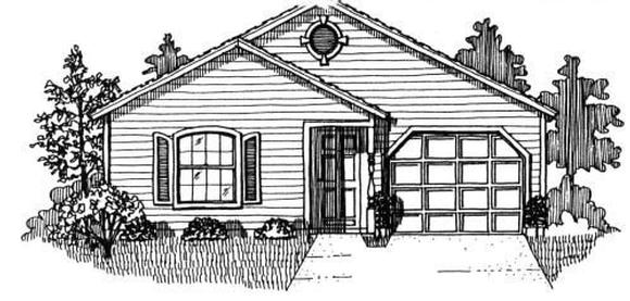 House Plan 53115 with 3 Beds, 2 Baths, 1 Car Garage Elevation