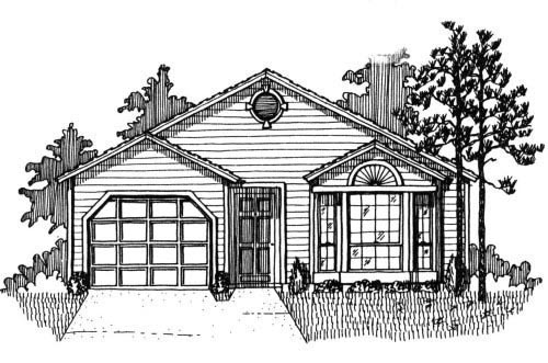 House Plan 53117 with 3 Beds, 2 Baths, 1 Car Garage Elevation