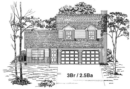 House Plan 53190 with 3 Beds, 3 Baths, 2 Car Garage Elevation