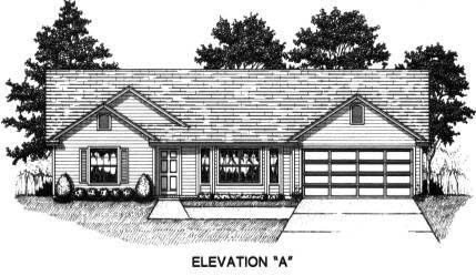 House Plan 53227 with 3 Beds, 2 Baths, 2 Car Garage Elevation