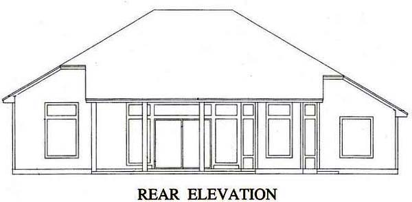 House Plan 53242 with 3 Beds, 2 Baths, 2 Car Garage Rear Elevation