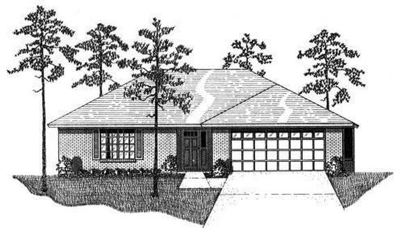 House Plan 53247 with 3 Beds, 2 Baths, 2 Car Garage Elevation