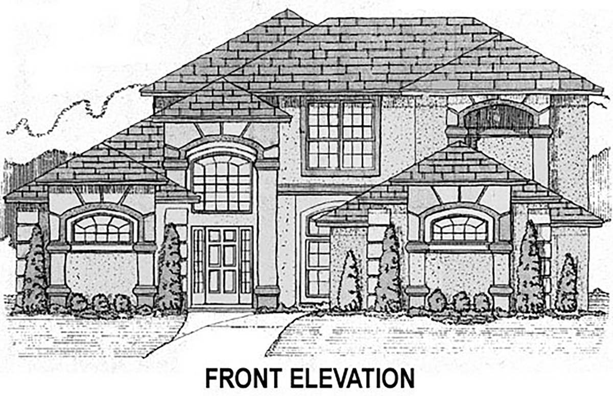 House Plan 53535 with 4 Beds, 3 Baths, 2 Car Garage Elevation
