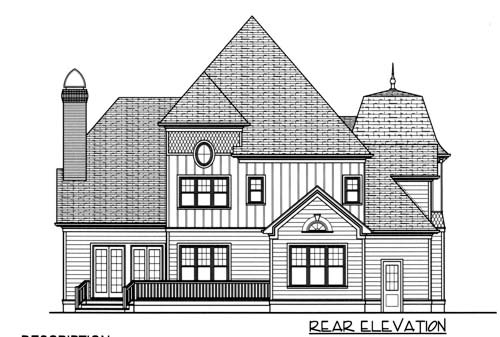 Victorian House Plan 53704 with 4 Beds, 4 Baths, 3 Car Garage Rear Elevation