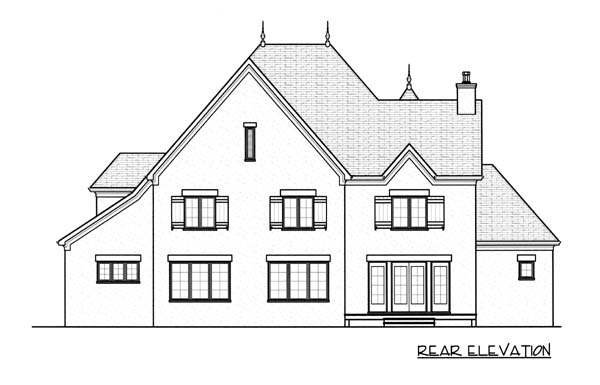European House Plan 53742 with 5 Beds, 4 Baths, 3 Car Garage Rear Elevation