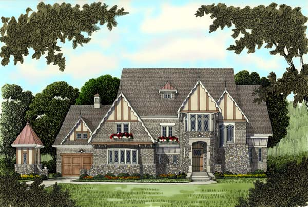 European, Tudor, Victorian House Plan 53743 with 4 Beds, 5 Baths, 3 Car Garage Elevation
