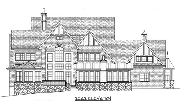 European, Tudor, Victorian House Plan 53743 with 4 Beds, 5 Baths, 3 Car Garage Rear Elevation