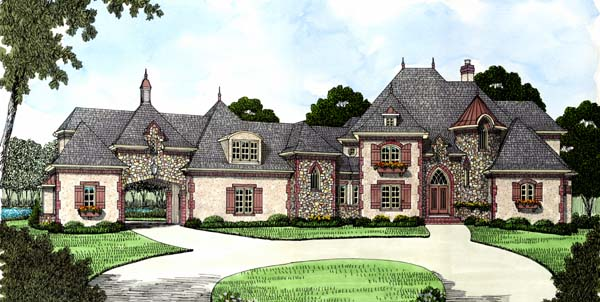 Country, European House Plan 53744 with 4 Beds, 5 Baths, 3 Car Garage Elevation