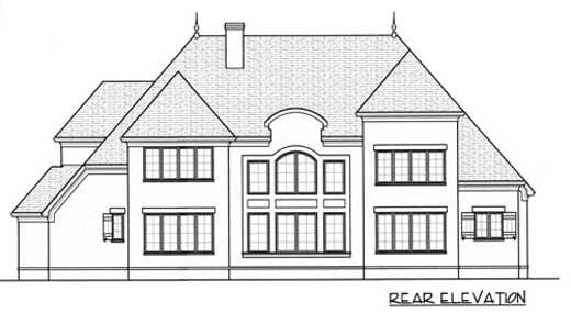 European House Plan 53745 with 4 Beds, 4 Baths, 3 Car Garage Rear Elevation