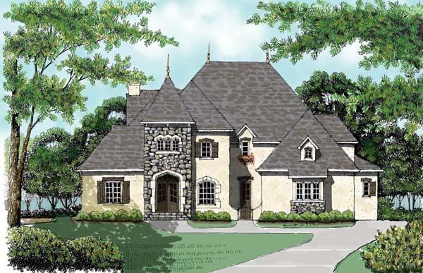 European House Plan 53746 with 5 Beds, 4 Baths, 3 Car Garage Elevation