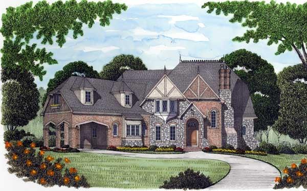 European, Tudor House Plan 53747 with 4 Beds, 5 Baths, 3 Car Garage Elevation