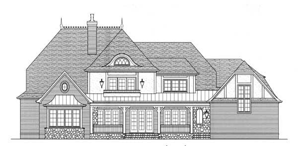 European, Tudor House Plan 53747 with 4 Beds, 5 Baths, 3 Car Garage Rear Elevation