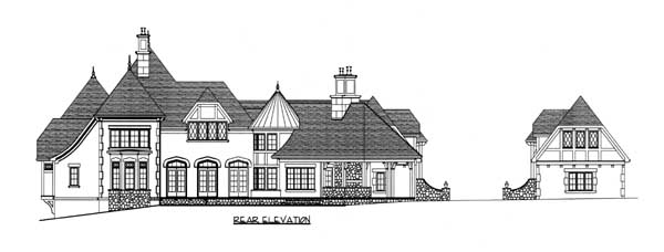 European, Tudor House Plan 53748 with 5 Beds, 7 Baths, 4 Car Garage Rear Elevation