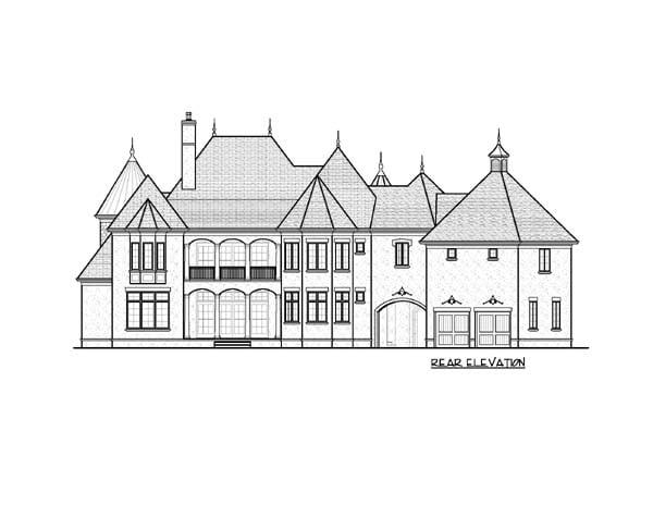 European House Plan 53819 with 6 Beds, 7 Baths, 2 Car Garage Rear Elevation