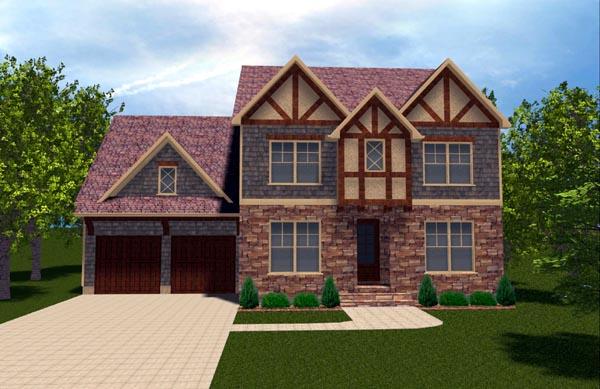 Craftsman, Tudor House Plan 53842 with 4 Beds, 3 Baths, 2 Car Garage Elevation