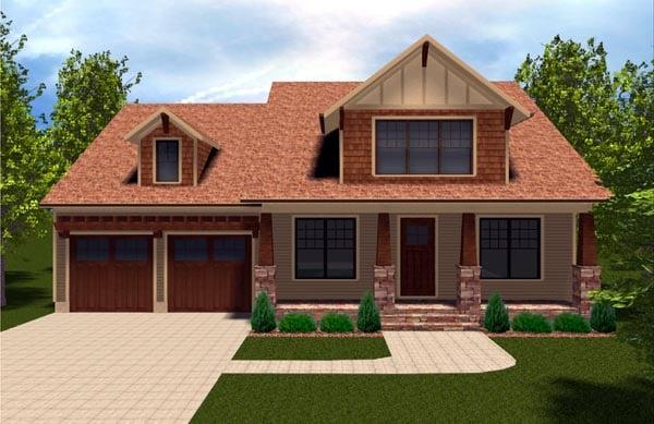 Bungalow, Craftsman House Plan 53845 with 4 Beds, 4 Baths, 2 Car Garage Elevation