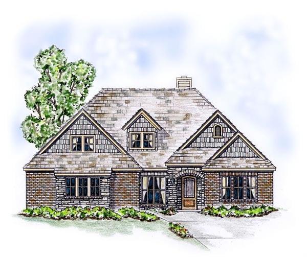 Craftsman European Traditional House Plan 53900 Elevation