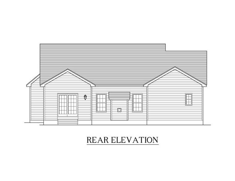 Ranch House Plan 54001 with 2 Beds, 2 Baths, 2 Car Garage Rear Elevation