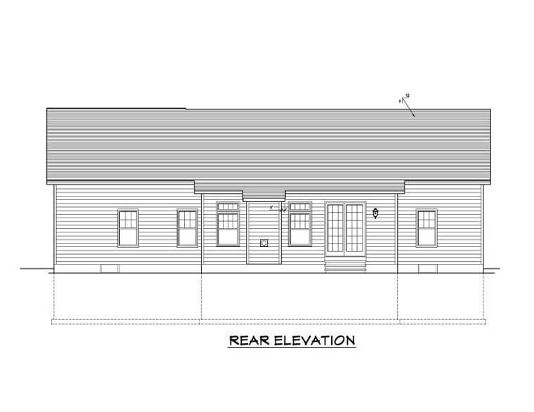 Ranch House Plan 54003 Rear Elevation