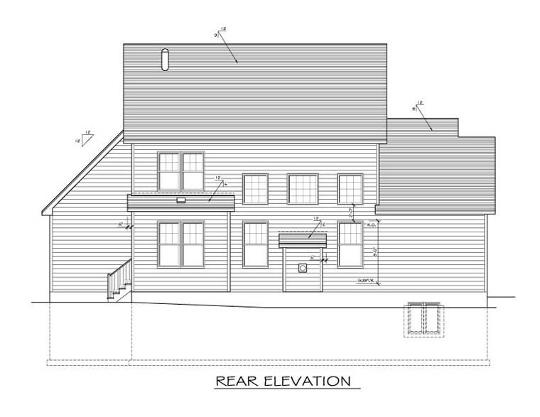 Cape Cod House Plan 54013 Rear Elevation