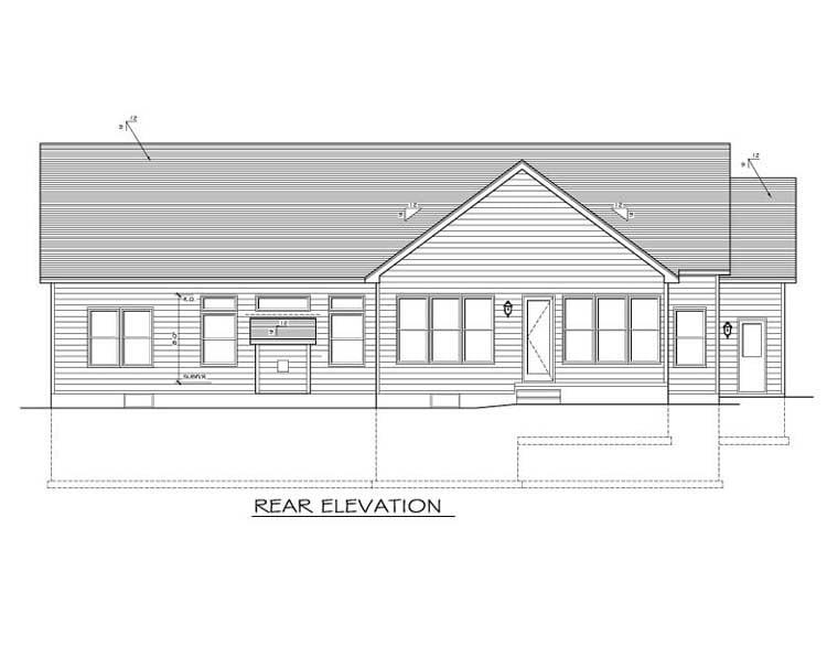 Ranch House Plan 54017 Rear Elevation