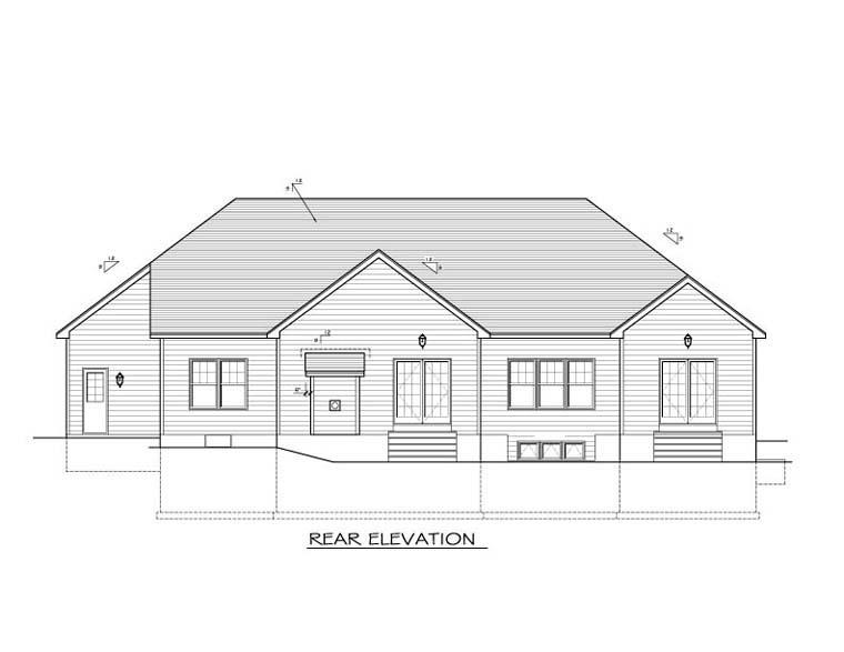 Ranch House Plan 54023 Rear Elevation