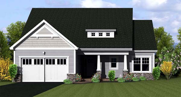 Ranch House Plan 54055 with 2 Beds, 2 Baths, 2 Car Garage Elevation