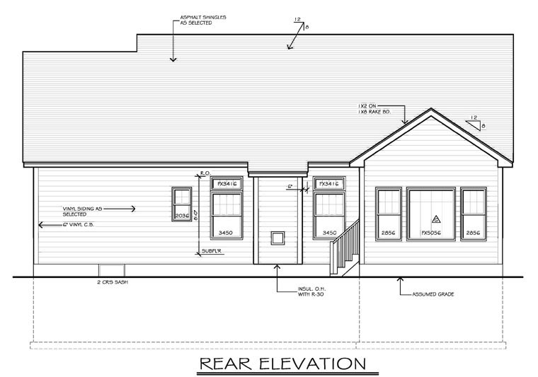 Ranch House Plan 54055 with 2 Beds, 2 Baths, 2 Car Garage Rear Elevation