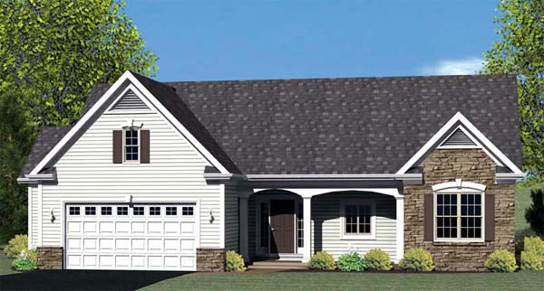Ranch House Plan 54060 with 3 Beds, 2 Baths, 2 Car Garage Elevation