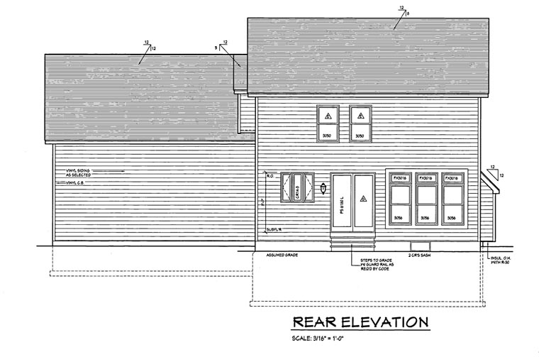 Traditional House Plan 54064 Rear Elevation