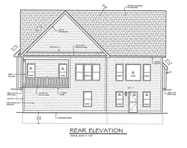 House Plan 54070 Rear Elevation